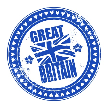 brytanii: Wielka Brytania atrament grunge pieczÄ…tka z flagÄ… unii