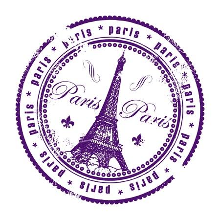 paris vintage: París, sello Vectores