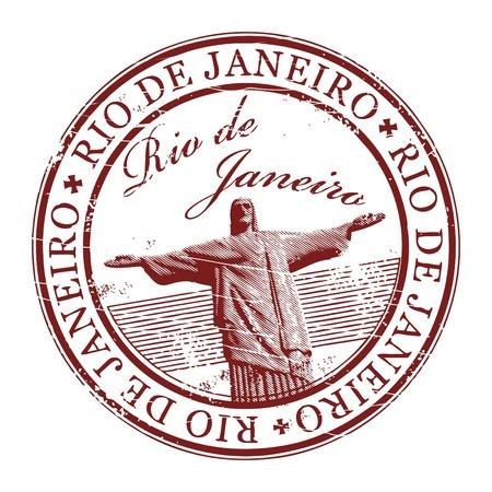 timbre voyage: Tampon en caoutchouc grunge avec la statue du Christ Rédempteur et le texte de Rio de Janeiro