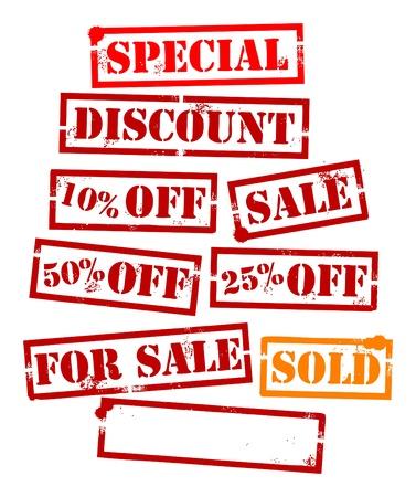 Grunge de venta establecido, sello de goma con descuento Ilustración de vector