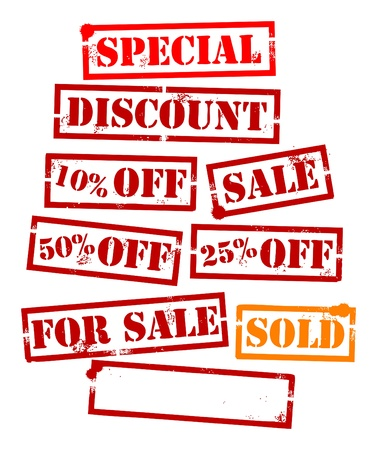 Grunge sale set, rubber stamp with discount Stock Vector - 13738509