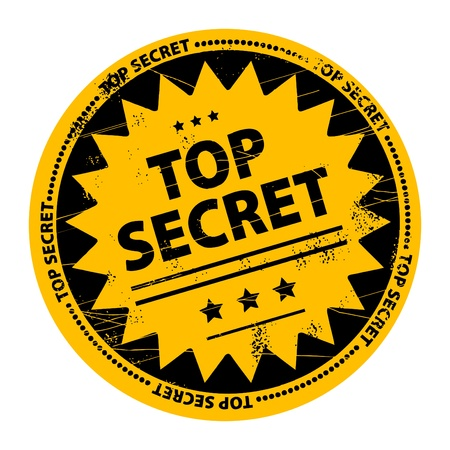 espionage: Abstract vector image of a grungy rubber stamp on yellow background  Top Secret