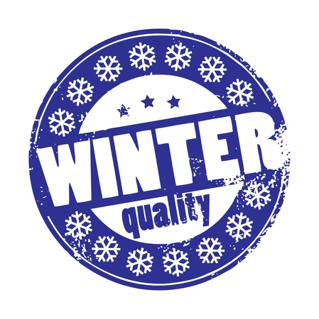 Grunge rubber stamp with words Winter Quality inside Stock Vector - 13738494