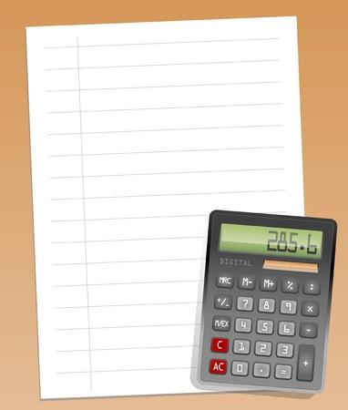Calculator on empty paper Stock Vector - 13753274