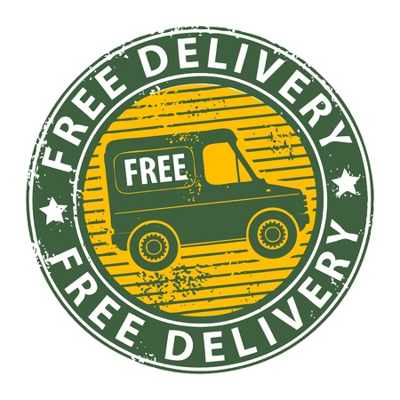Grunge stamp with a delivery car in the middle and the text free delivery written around the stamp Stock Vector - 13753282