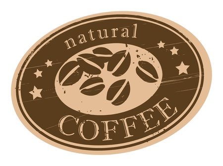 Grunge stamp with coffee beans and the word natural coffee written inside the stamp Vector