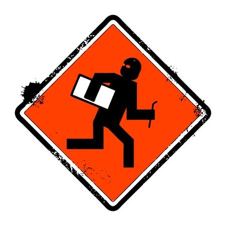 No thief grunge sign, vector illustration  Vector