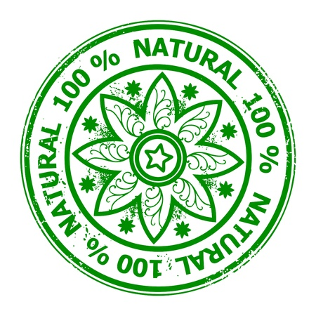 Green rubber stamp with the text natural food 100  written inside the stamp Stock Vector - 13756398