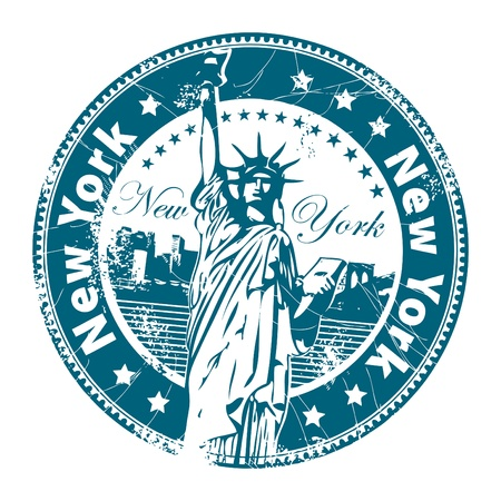 liberty: Stamp with Statue of Liberty and the word New York, America inside Illustration
