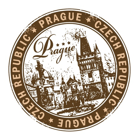 Rubber stamp with the name of Prague the capital of Czech Republic written inside the stamp