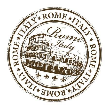 stamp with Colosseum and the word Rome, Italy inside