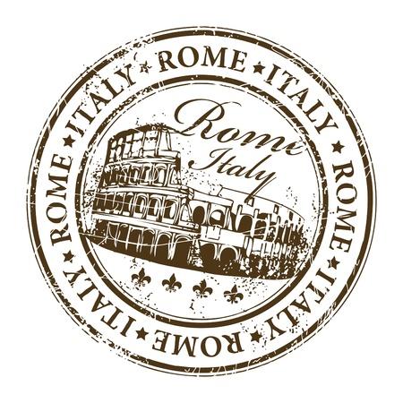 cultura italiana: timbro con Colosseo e la Roma parola, l'Italia all'interno