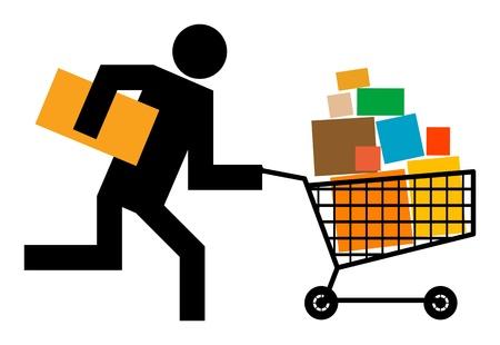 martinet: Running Man avec panier d'achat Illustration