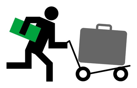 to flit: Running man with airport trolley