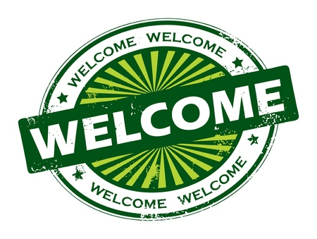 welcome sign: Stamp with the word welcome written inside the stamp