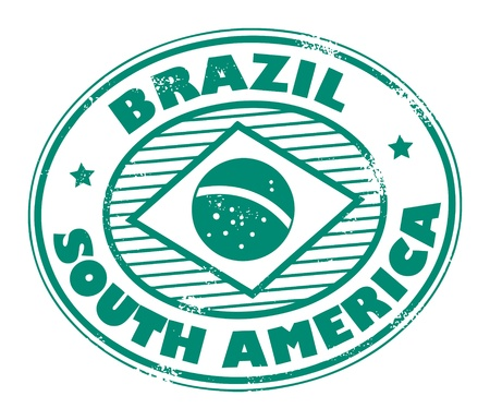 custom letters: Stamp with word Brazil