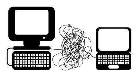 cable red: Red de ordenadores Vectores