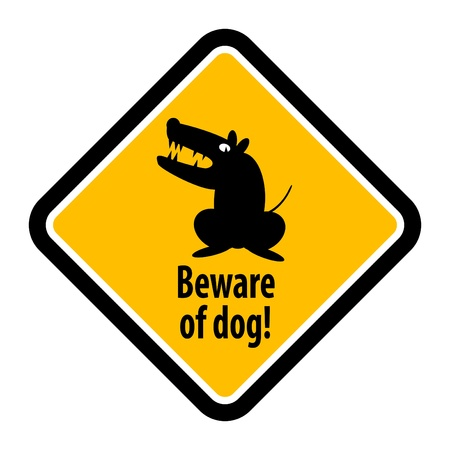 beware: Yellow warning plate with dog silhouette and the text beware of dog