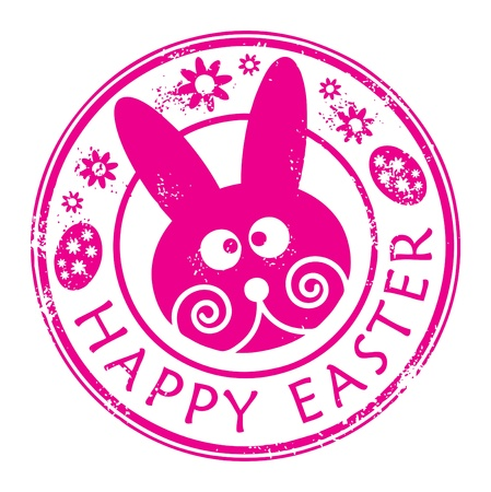 Stamp with bunny and the text Happy Easter written inside Stock Vector - 13766209