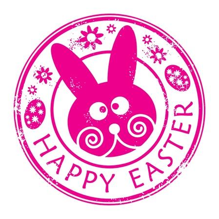 joyeuses p�ques: Timbre avec le lapin et le texte �crit � l'int�rieur Joyeuses P�ques Illustration