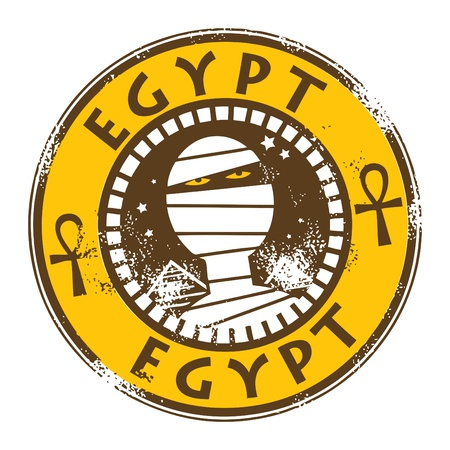Stamp with mummy and text Pyramids of Giza Vector