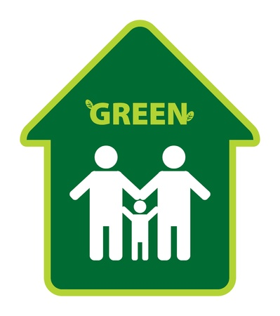 Green eco symbol with family silhouette Vector
