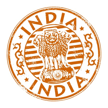 Stamp with the name of India written inside the stamp Illustration