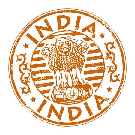 Timbre avec le nom de l'Inde écrit à l'intérieur du timbre