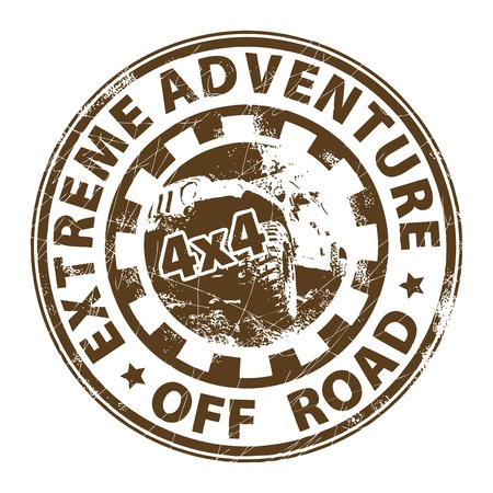 off road vehicle: Extreme Adventure stamp Illustration