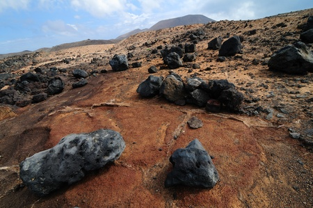 stone volcanic stones: Landscape, Graciosa island, Canary Islands, Spain Stock Photo