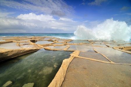 evaporacion: Antiguo salinas de evaporaci�n, Isla de Malta