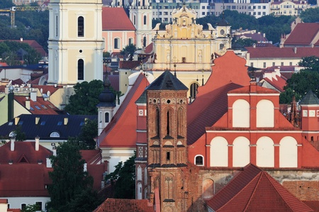 Vilnius old town gothic panorama, morning photo
