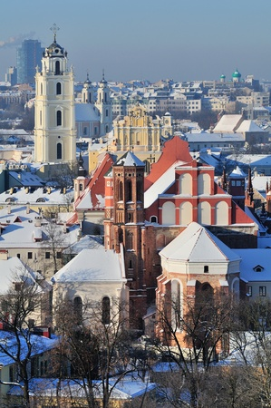 Vilnius old town cityscape, winter morning Stock Photo - 13777292