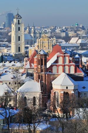 Vilnius old town cityscape, winter morning Stock Photo - 13777292