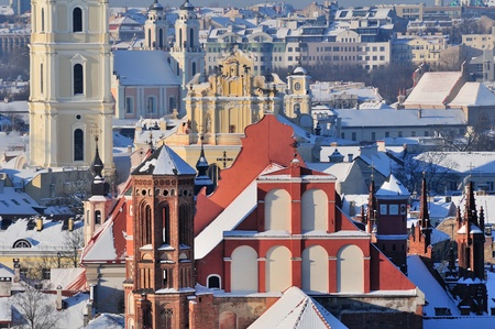 Vilnius old town cityscape, winter morning Stock Photo - 13777289