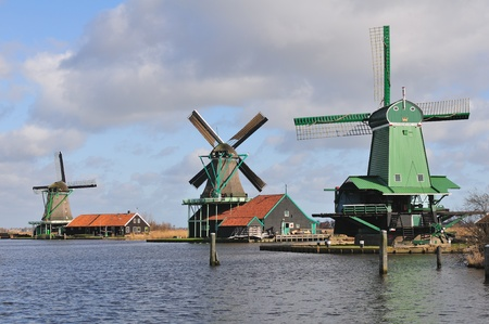 dutch windmill: Typical dutch houses and windmills, Amsterdam