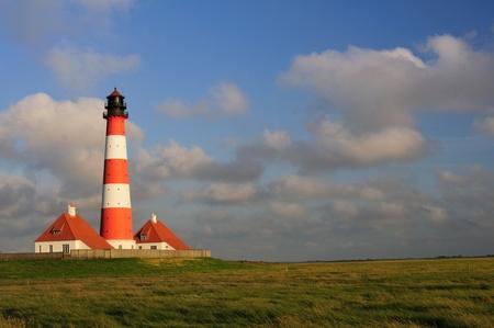 westerheversand lighthouse: Lighthouse Westerhever in Schleswig-Holstein, North Germany, Summer Evening Stock Photo