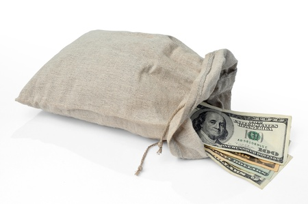 rescheduling: Dollars bills in a sack