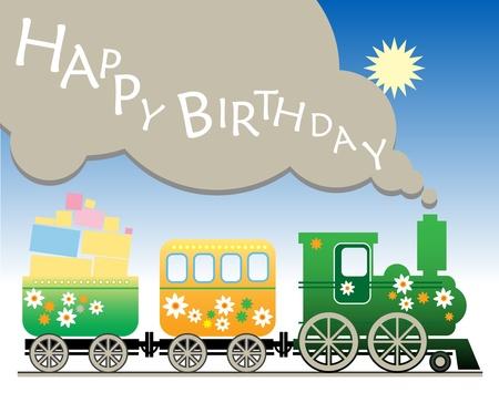 Happy birthday train Vector Illustration
