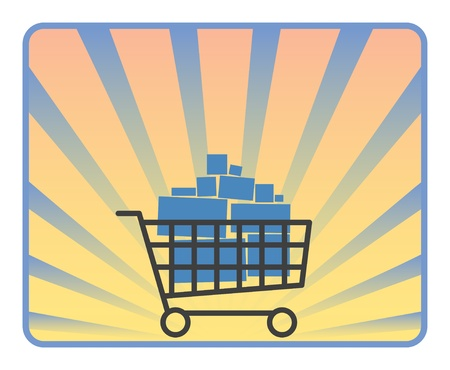 product cart: Full shopping cart on ray background