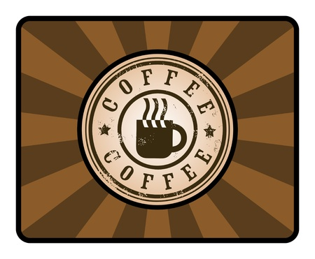 Grunge stamp with coffee cup on brown background Vector