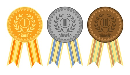 Gold, silver and bronze medals with ribbons Illustration