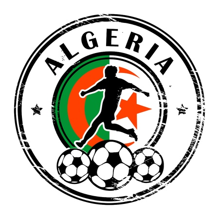 Grunge stamp with football and name Algeria Vector