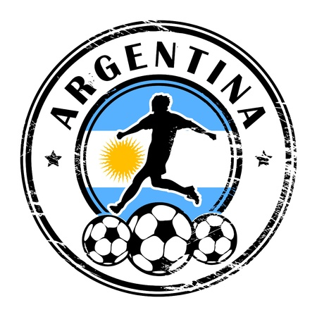 Grunge stamp with football and name Argentina Vector