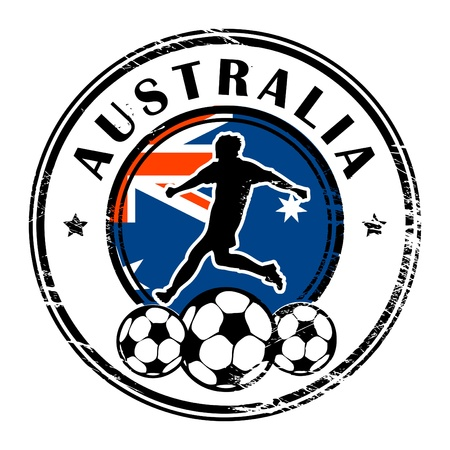 Grunge stamp with football and name Australia Vector