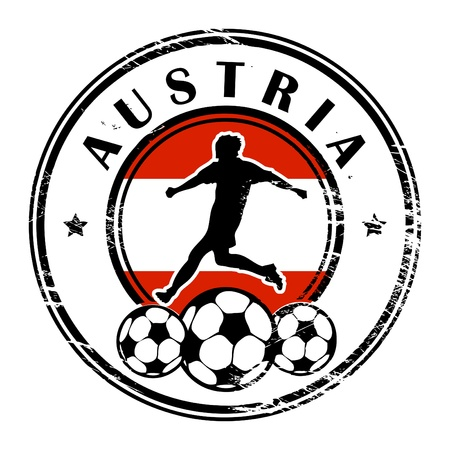 Grunge stamp with football and name Austria Vector