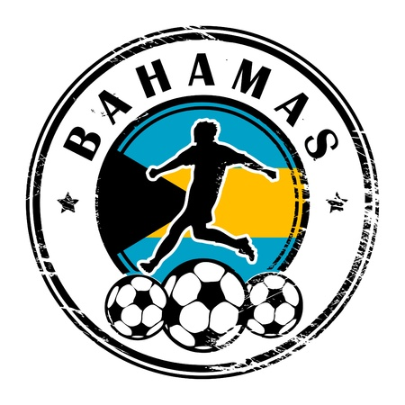 Grunge stamp with football and name Bahamas Vector