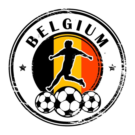 Grunge stamp with football and name Belgium Vector