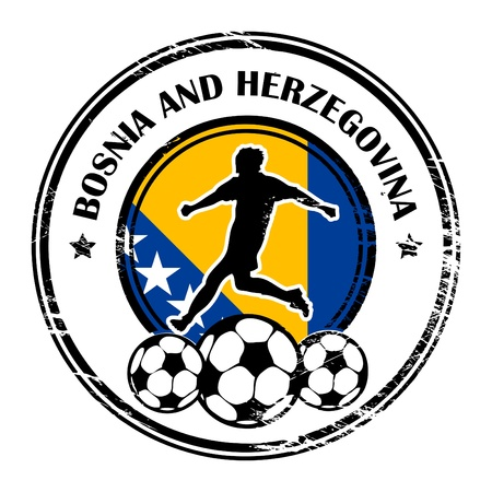 herzegovina: Grunge stamp with football and name Bosnia and Herzegovina