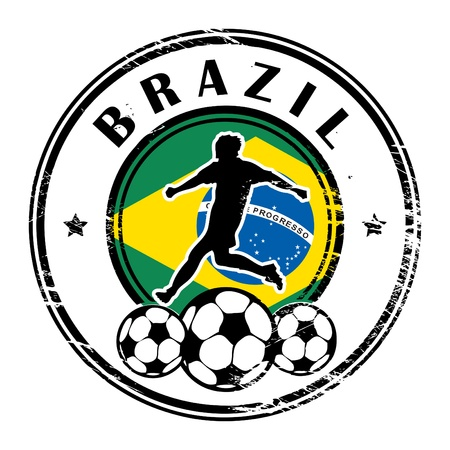 Grunge stamp with football and name Brazil